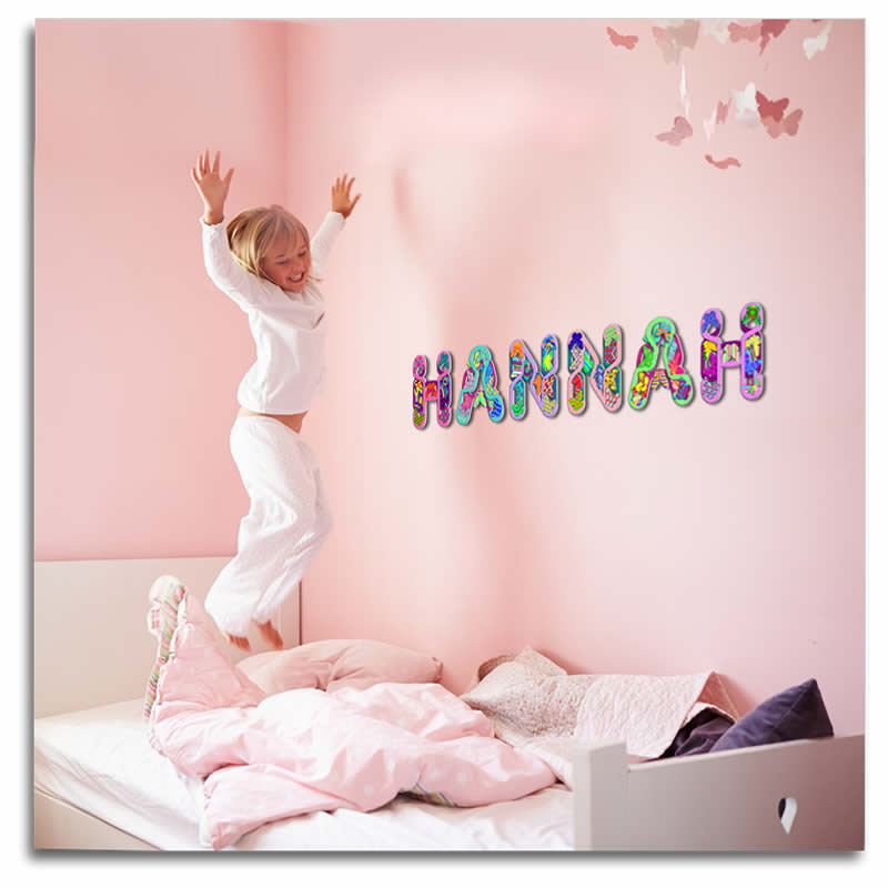 Amazing 3d wall letters with patterned butterflies lovebrite for Babies r us wall letters