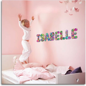 Amazing 3D wall letters with patterned butterflies for Isabelle