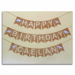 Dinosaur Birthday Bunting – BLUE or CREAM Traditional Font