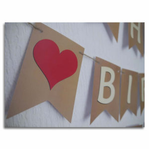 Red Heart Birthday Bunting Banner, with traditional cream font